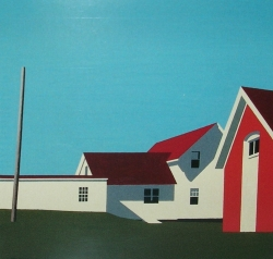 """Monhegan Lighthouse with Oil Shed 2002 12"""" x 12"""""""